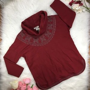 LUCKY BRAND Cowl Pullover Sweater Embroid (W1-122)